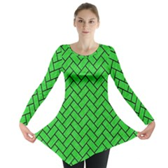 Brick2 Black Marble & Green Colored Pencil (r) Long Sleeve Tunic