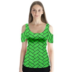 Brick2 Black Marble & Green Colored Pencil (r) Butterfly Sleeve Cutout Tee