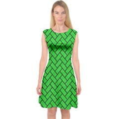 Brick2 Black Marble & Green Colored Pencil (r) Capsleeve Midi Dress