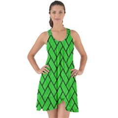 Brick2 Black Marble & Green Colored Pencil (r) Show Some Back Chiffon Dress