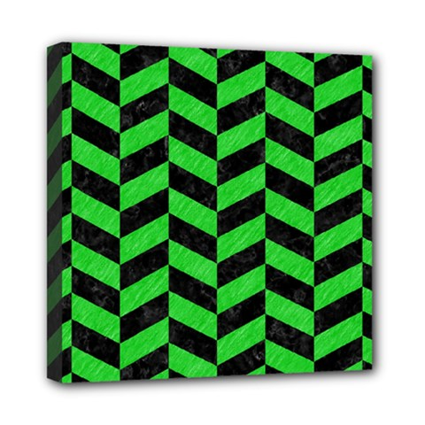 Chevron1 Black Marble & Green Colored Pencil Mini Canvas 8  X 8