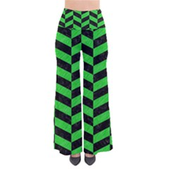Chevron1 Black Marble & Green Colored Pencil Pants