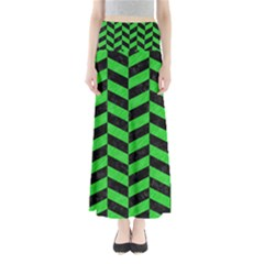 Chevron1 Black Marble & Green Colored Pencil Full Length Maxi Skirt