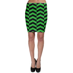 Chevron2 Black Marble & Green Colored Pencil Bodycon Skirt