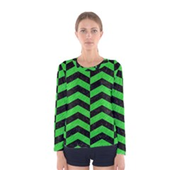 Chevron2 Black Marble & Green Colored Pencil Women s Long Sleeve Tee