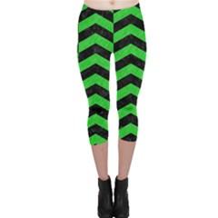Chevron2 Black Marble & Green Colored Pencil Capri Leggings
