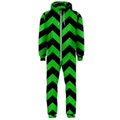 Chevron2 Black Marble & Green Colored Pencil Hooded Jumpsuit (men)