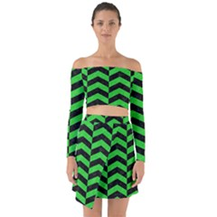 Chevron2 Black Marble & Green Colored Pencil Off Shoulder Top With Skirt Set