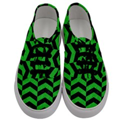Chevron2 Black Marble & Green Colored Pencil Men s Classic Low Top Sneakers