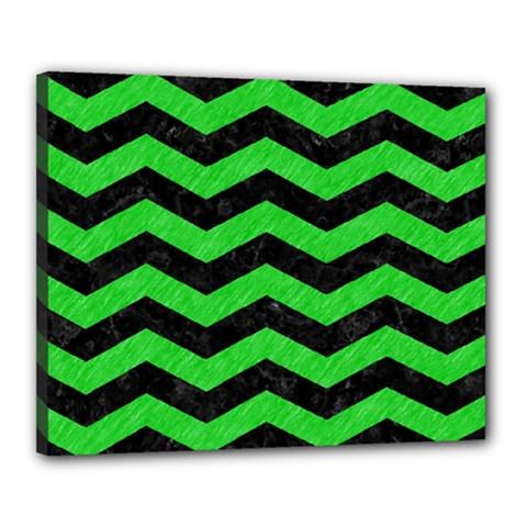 Chevron3 Black Marble & Green Colored Pencil Canvas 20  X 16