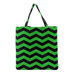 Chevron3 Black Marble & Green Colored Pencil Grocery Tote Bag