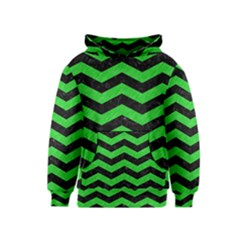 Chevron3 Black Marble & Green Colored Pencil Kids  Pullover Hoodie