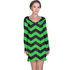 Chevron3 Black Marble & Green Colored Pencil Long Sleeve Nightdress