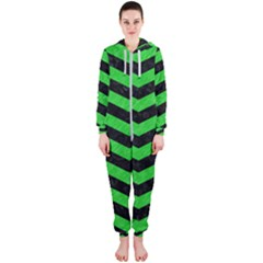 Chevron3 Black Marble & Green Colored Pencil Hooded Jumpsuit (ladies)