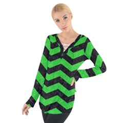 Chevron3 Black Marble & Green Colored Pencil Tie Up Tee