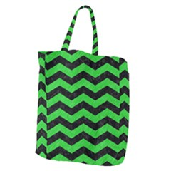 Chevron3 Black Marble & Green Colored Pencil Giant Grocery Zipper Tote