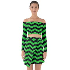 Chevron3 Black Marble & Green Colored Pencil Off Shoulder Top With Skirt Set