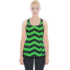 Chevron3 Black Marble & Green Colored Pencil Piece Up Tank Top