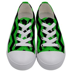 Chevron3 Black Marble & Green Colored Pencil Kids  Low Top Canvas Sneakers