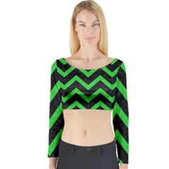 Chevron9 Black Marble & Green Colored Pencil Long Sleeve Crop Top