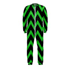 Chevron9 Black Marble & Green Colored Pencil Onepiece Jumpsuit (kids)