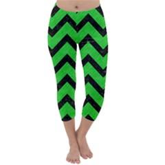 Chevron9 Black Marble & Green Colored Pencil (r) Capri Winter Leggings