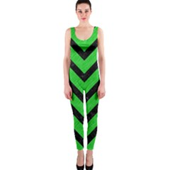Chevron9 Black Marble & Green Colored Pencil (r) Onepiece Catsuit