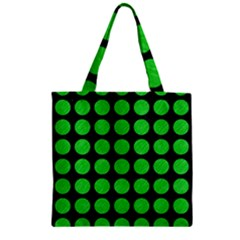 Circles1 Black Marble & Green Colored Pencil Zipper Grocery Tote Bag