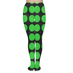 Circles1 Black Marble & Green Colored Pencil Women s Tights