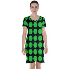 Circles1 Black Marble & Green Colored Pencil Short Sleeve Nightdress