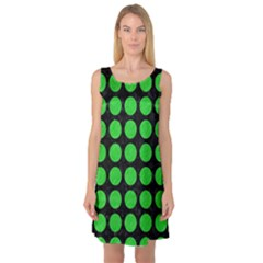 Circles1 Black Marble & Green Colored Pencil Sleeveless Satin Nightdress