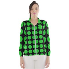 Circles1 Black Marble & Green Colored Pencil Wind Breaker (women)