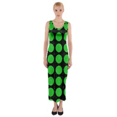 Circles1 Black Marble & Green Colored Pencil Fitted Maxi Dress