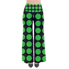 Circles1 Black Marble & Green Colored Pencil Pants