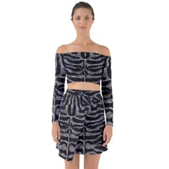 Skin2 Black Marble & Gray Stone Off Shoulder Top With Skirt Set