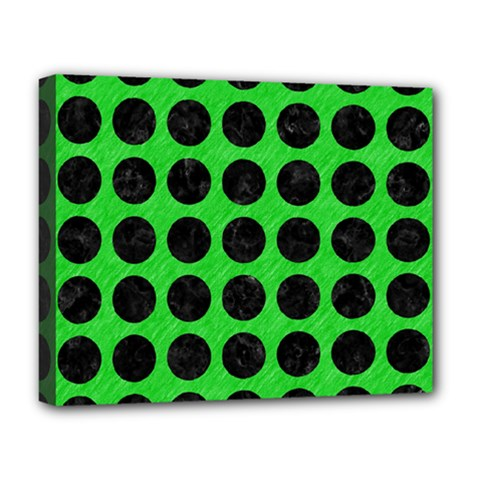 Circles1 Black Marble & Green Colored Pencil (r) Deluxe Canvas 20  X 16