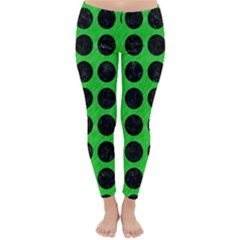 Circles1 Black Marble & Green Colored Pencil (r) Classic Winter Leggings