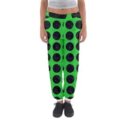 Circles1 Black Marble & Green Colored Pencil (r) Women s Jogger Sweatpants