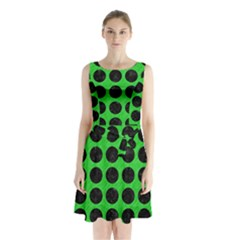 Circles1 Black Marble & Green Colored Pencil (r) Sleeveless Waist Tie Chiffon Dress