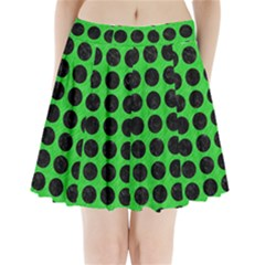 Circles1 Black Marble & Green Colored Pencil (r) Pleated Mini Skirt