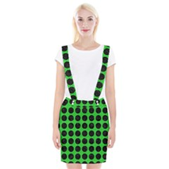 Circles1 Black Marble & Green Colored Pencil (r) Braces Suspender Skirt