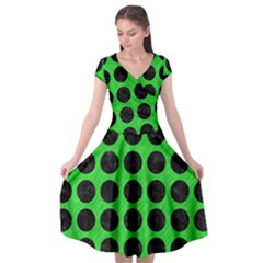 Circles1 Black Marble & Green Colored Pencil (r) Cap Sleeve Wrap Front Dress