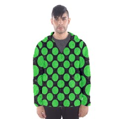 Circles2 Black Marble & Green Colored Pencil Hooded Wind Breaker (men)