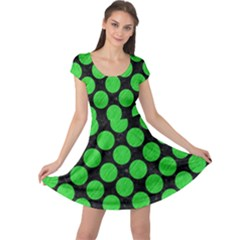 Circles2 Black Marble & Green Colored Pencil Cap Sleeve Dress