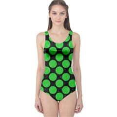 Circles2 Black Marble & Green Colored Pencil One Piece Swimsuit
