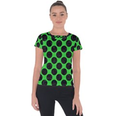 Circles2 Black Marble & Green Colored Pencil (r) Short Sleeve Sports Top