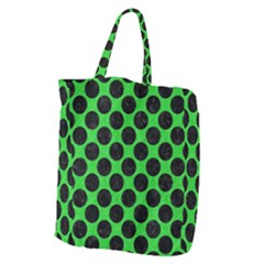 Circles2 Black Marble & Green Colored Pencil (r) Giant Grocery Zipper Tote