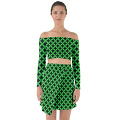 Circles3 Black Marble & Green Colored Pencil Off Shoulder Top With Skirt Set