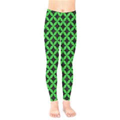 Circles3 Black Marble & Green Colored Pencil Kids  Legging