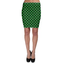 Circles3 Black Marble & Green Colored Pencil (r) Bodycon Skirt